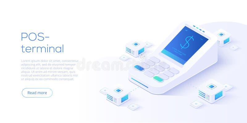 Интернет креня концепция в равновеликой иллюстрации вектора Оплата цифров или онлайн обслуживание денежного перевода POS терминал иллюстрация вектора