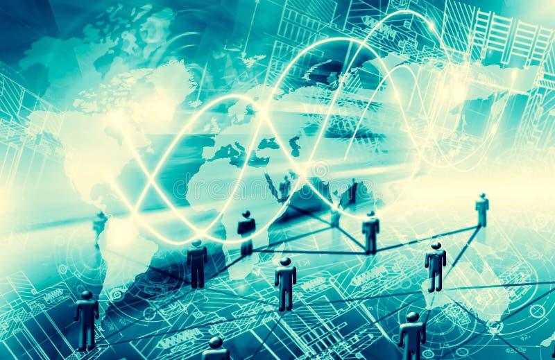 интернет самой лучшей принципиальной схемы дела гловальный Технологическая предпосылка, символы Wi-Fi, интернета, телевидение, пе иллюстрация штока