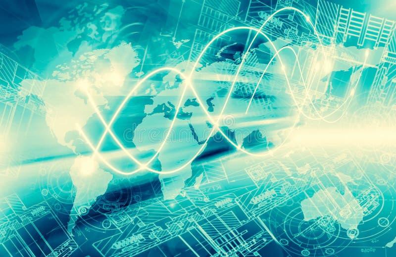 интернет самой лучшей принципиальной схемы дела гловальный Технологическая предпосылка, символы Wi-Fi, интернета, телевидение, пе иллюстрация вектора