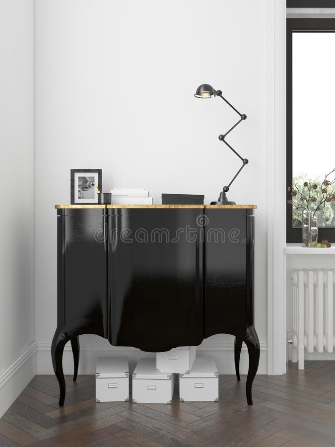 Интерьер современной живущей комнаты с переводом commode 3D бесплатная иллюстрация