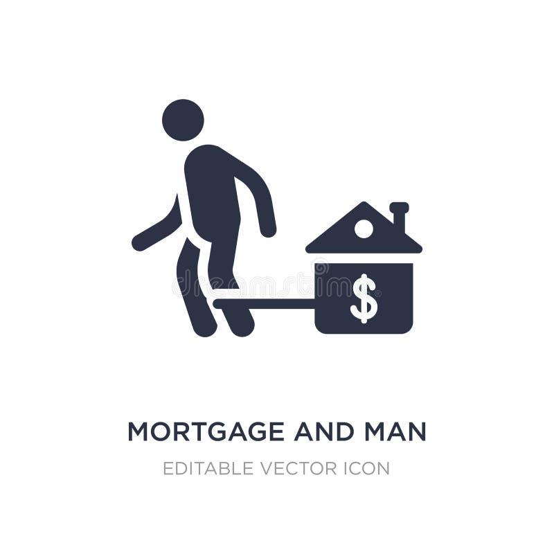 ипотека и значок человека на белой предпосылке Простая иллюстрация элемента от концепции дела иллюстрация штока