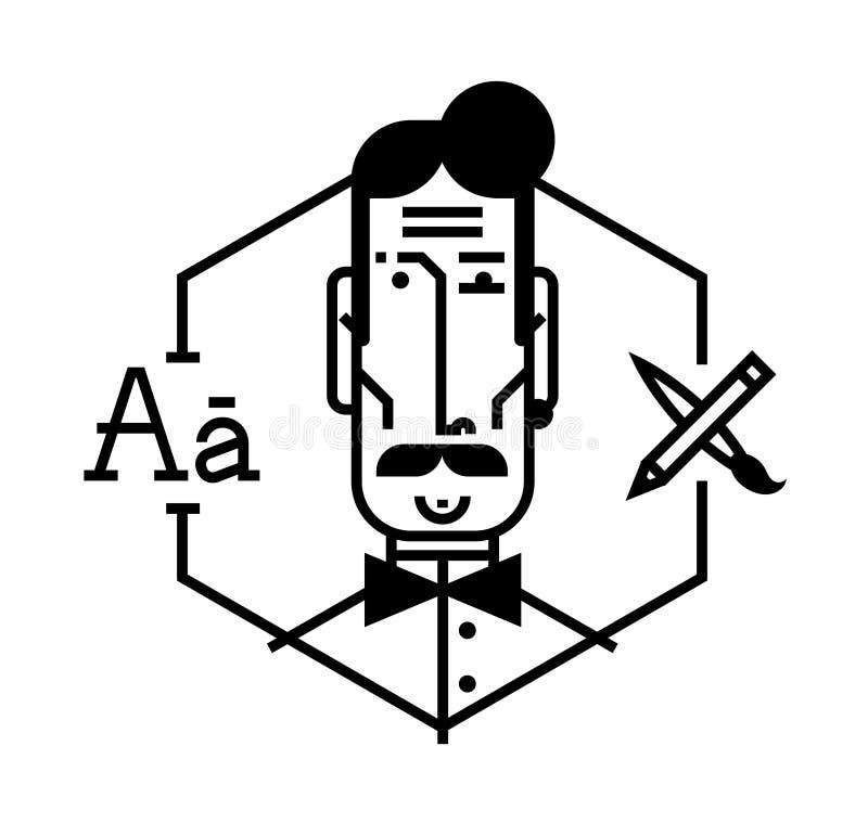 Идеальный значок для ваших кричащих дизайн-проектов Изображение изолировано на белой предпосылке Характер в стиле шаржа Воплощени иллюстрация вектора