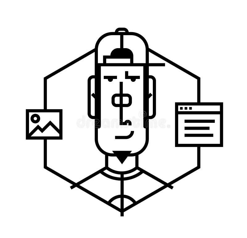 Идеальный значок для ваших кричащих дизайн-проектов Изображение изолировано на белой предпосылке Характер в стиле шаржа Воплощени иллюстрация штока