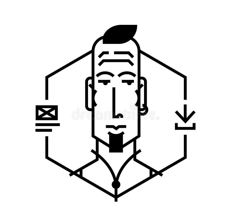 Идеальный значок для ваших кричащих дизайн-проектов Изображение изолировано на белой предпосылке Характер в стиле шаржа Воплощени бесплатная иллюстрация