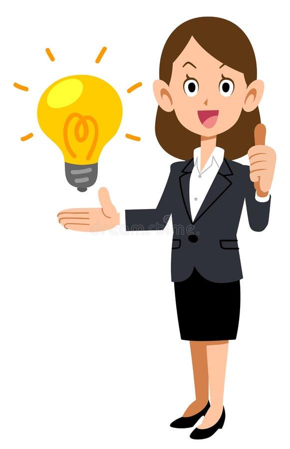 Идеи бизнес-леди оценивая иллюстрация вектора