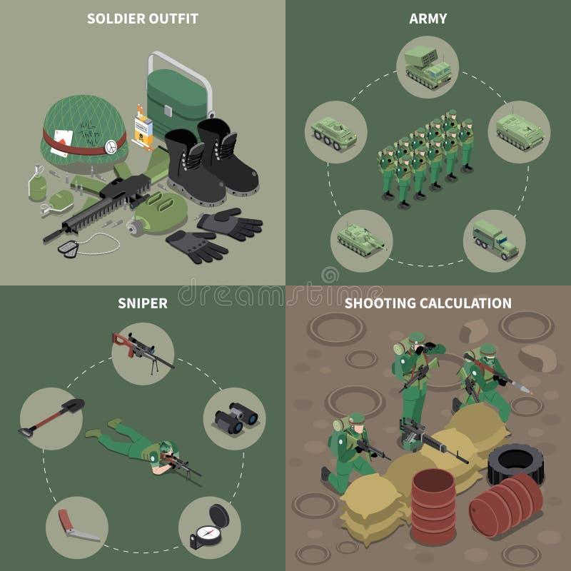 Идея проекта армии 2x2 иллюстрация штока