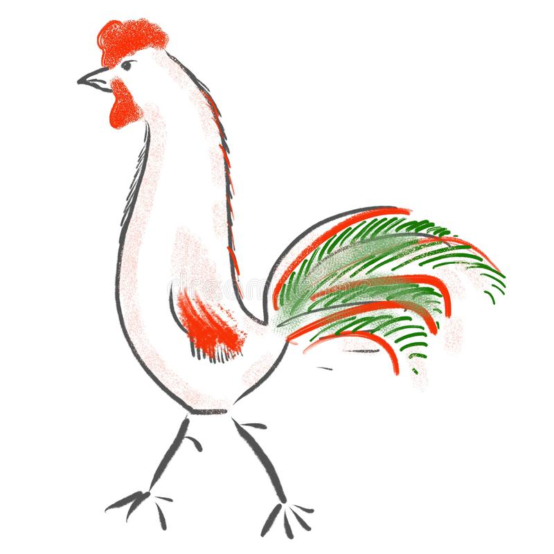 Идя иллюстрация петуха Животноводческие фермы, птицы иллюстрация вектора