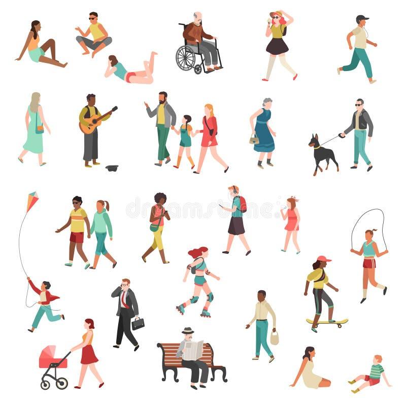 Идя плоские люди Мультфильм велосипедов собак детей улицы города девушки человека женщины положения человека характера говоря иду иллюстрация вектора