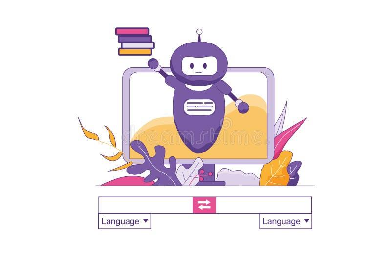 Искусственный интеллект переводит текст онлайн иллюстрация вектора