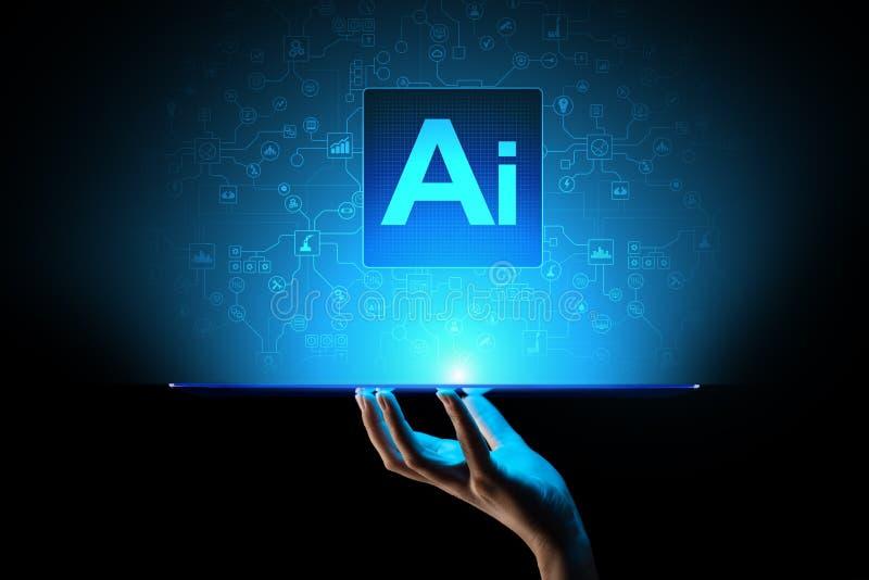 Искусственный интеллект AI, машинное обучение, большой анализ данных и технология автоматизации в деле иллюстрация вектора