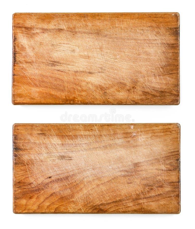 Используемое 2 поцарапали деревянные разделочные доски, на белой предпосылке стоковая фотография rf