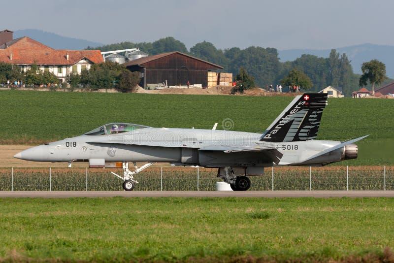 Истребительные авиации швейцарского шершня McDonnell Douglas F/A-18C военновоздушной силы multirole летая в образование со швейца стоковое фото