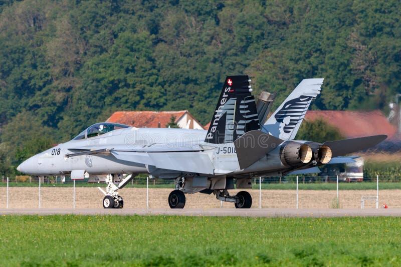 Истребительные авиации швейцарского шершня McDonnell Douglas F/A-18C военновоздушной силы multirole летая в образование со швейца стоковые фото