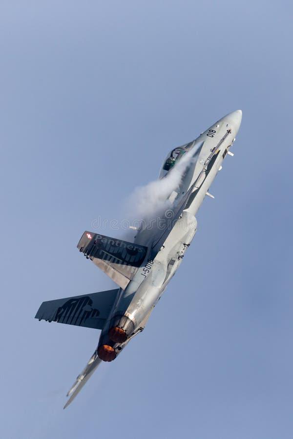 Истребительные авиации швейцарского шершня McDonnell Douglas F/A-18C военновоздушной силы multirole стоковое изображение