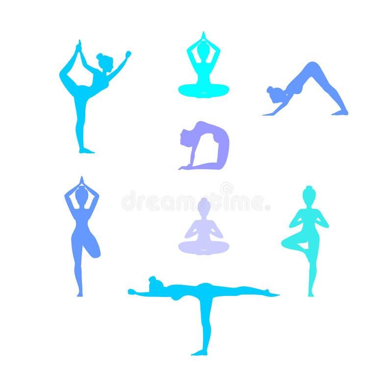 Йога в природе Asanas Женский силуэт также вектор иллюстрации притяжки corel иллюстрация вектора
