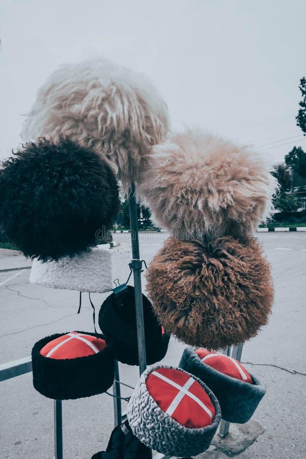 Казацкий головной убор на шкафе Национальная шляпа Традиционный головной убор стоковая фотография rf