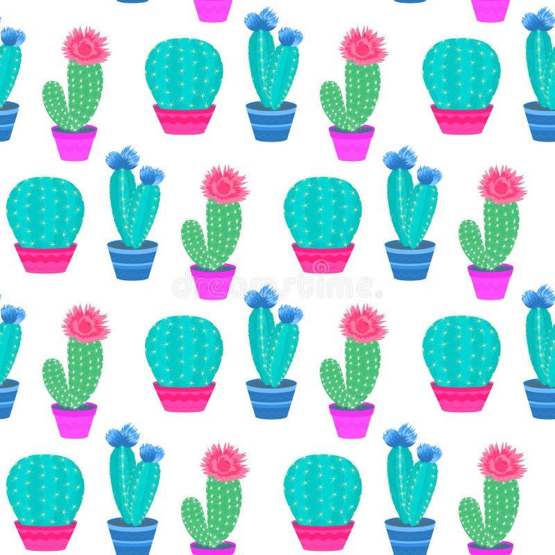 кактусы цветя баки Домашние заводы Картина кактуса безшовная иллюстрация штока