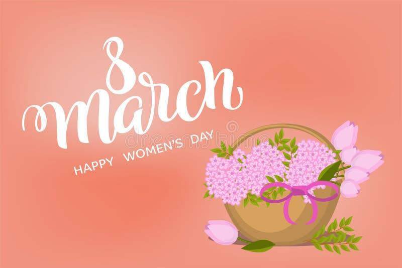 Каллиграфия 8-ое марта руки вычерченная на Международный женский день с плоской корзиной цветка Почистьте литерность щеткой, женщ иллюстрация штока