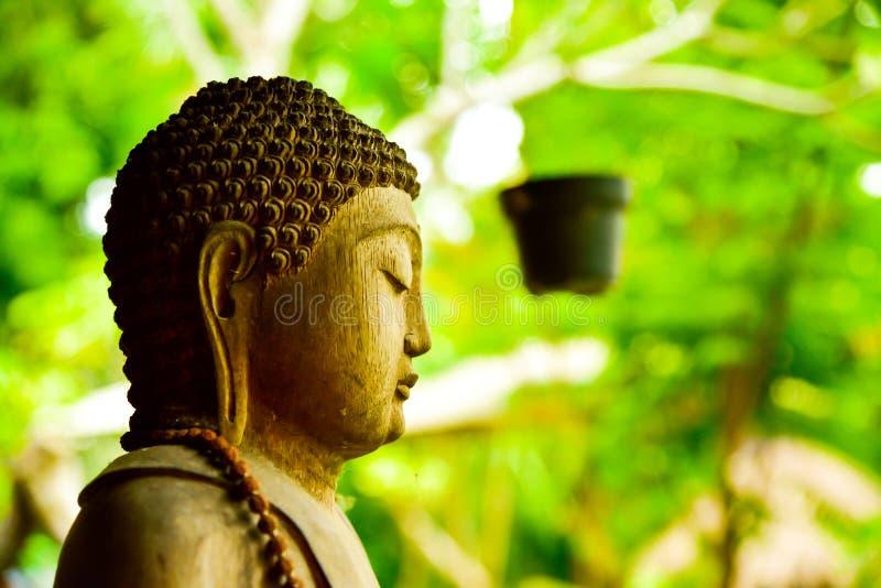 Каменная статуя Будды сидя моля и размышляя для духа души тела разума стоковая фотография