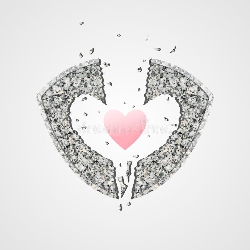 Каменный экран разрушает любовь в форме сердца иллюстрация штока