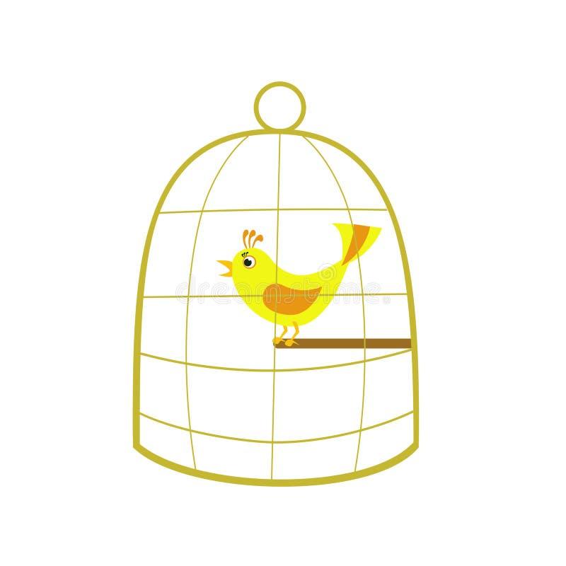 Канереечная птица в клетке бесплатная иллюстрация