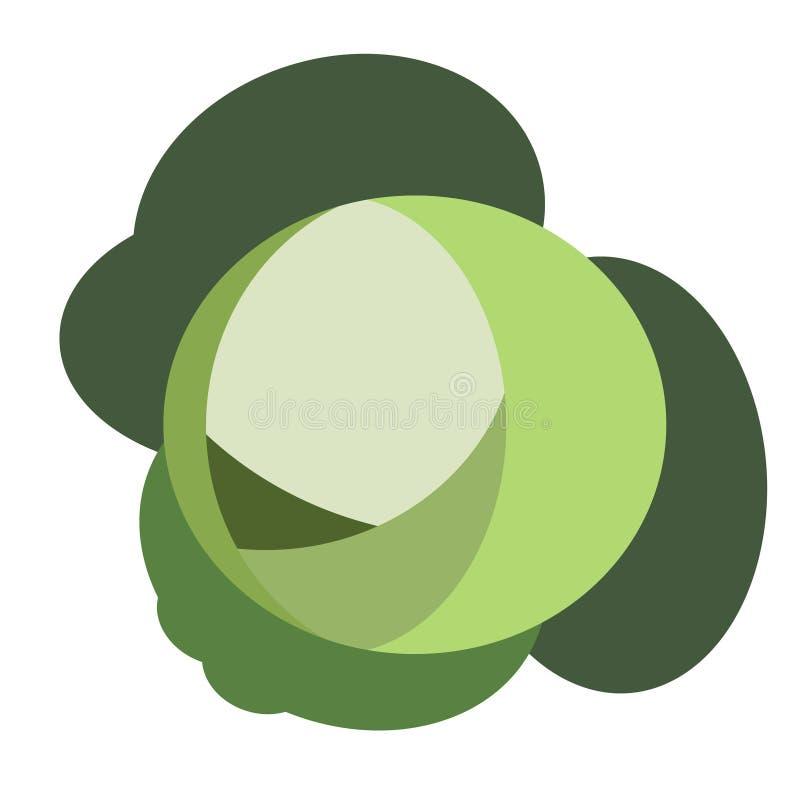 Капуста зеленеет плоскую простую иллюстрацию иллюстрация штока