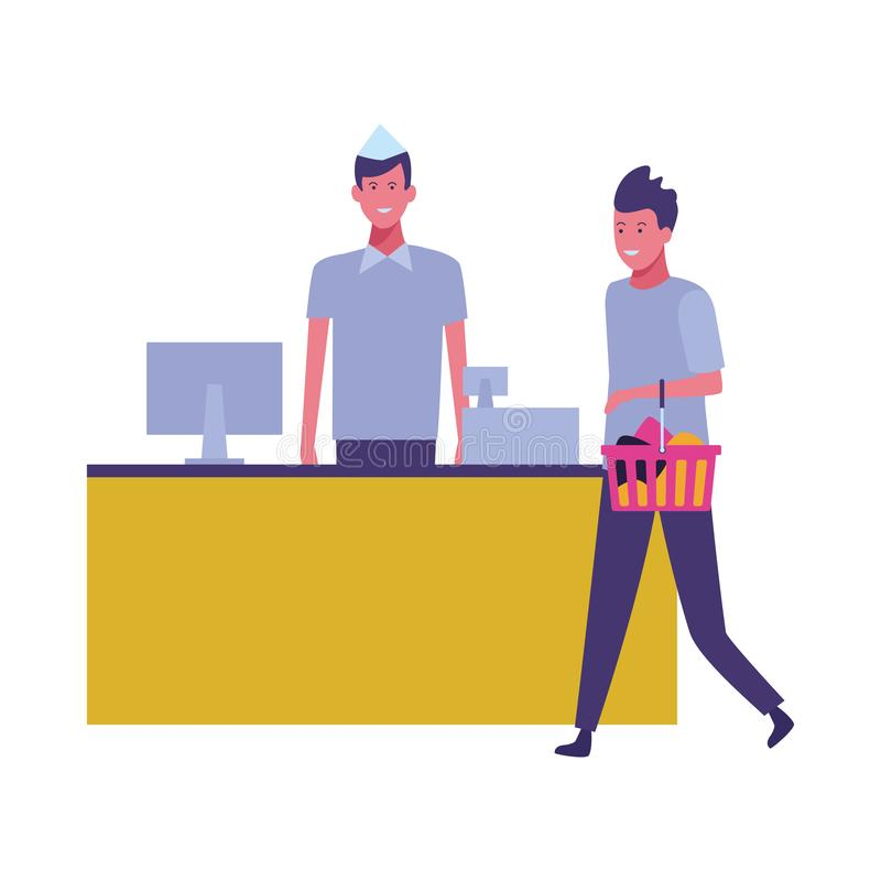 Кассир и клиенты супермаркета с хозяйственными сумками иллюстрация вектора
