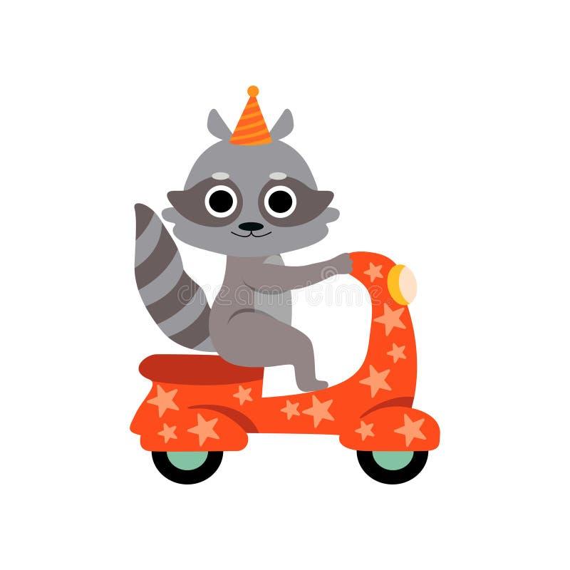Катание енота на мотоцикле, милом смешном животном выполняя в иллюстрации вектора шоу цирка иллюстрация штока