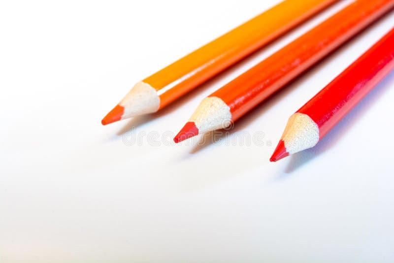3 карандаша на белой предпосылке Красные и оранжевые цвета творение искусство цветы греют Образование задняя школа к стоковое фото rf