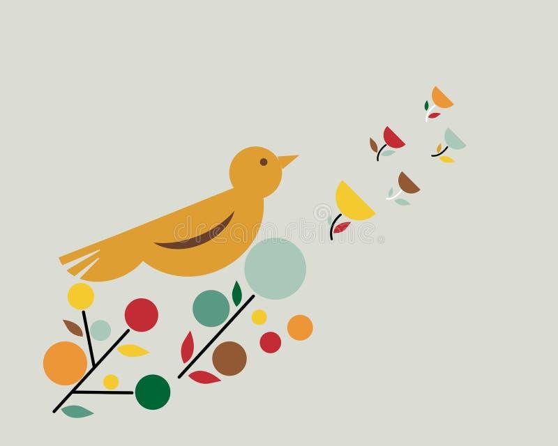 карандаш чертежа ветви птицы иллюстрация штока