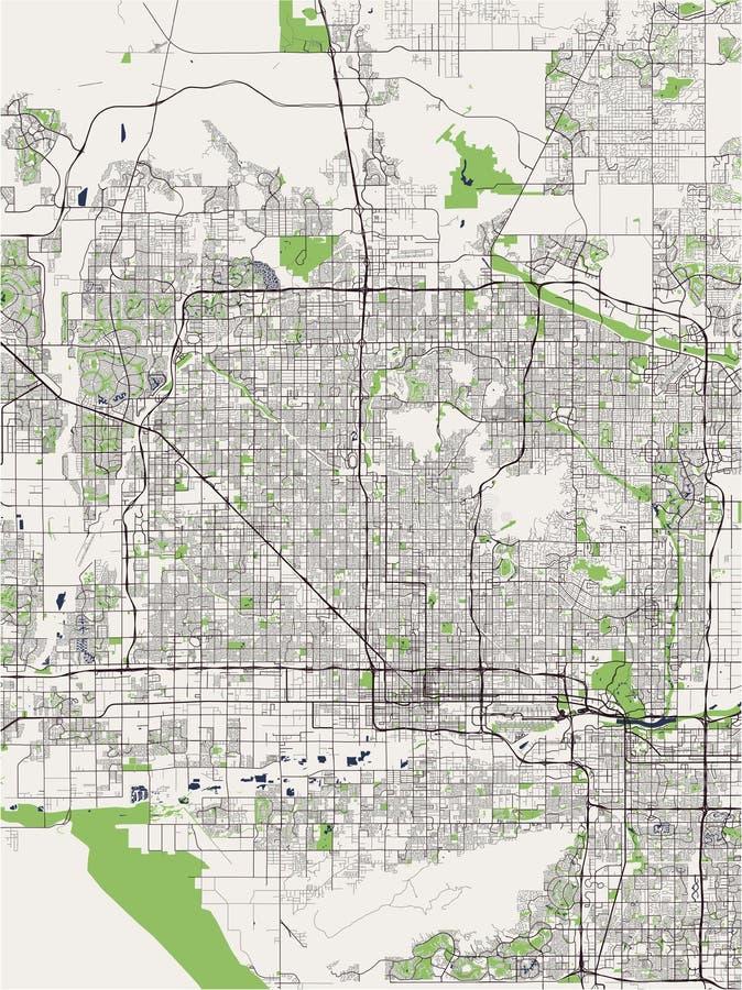 Карта города Феникса, Аризоны, США иллюстрация штока