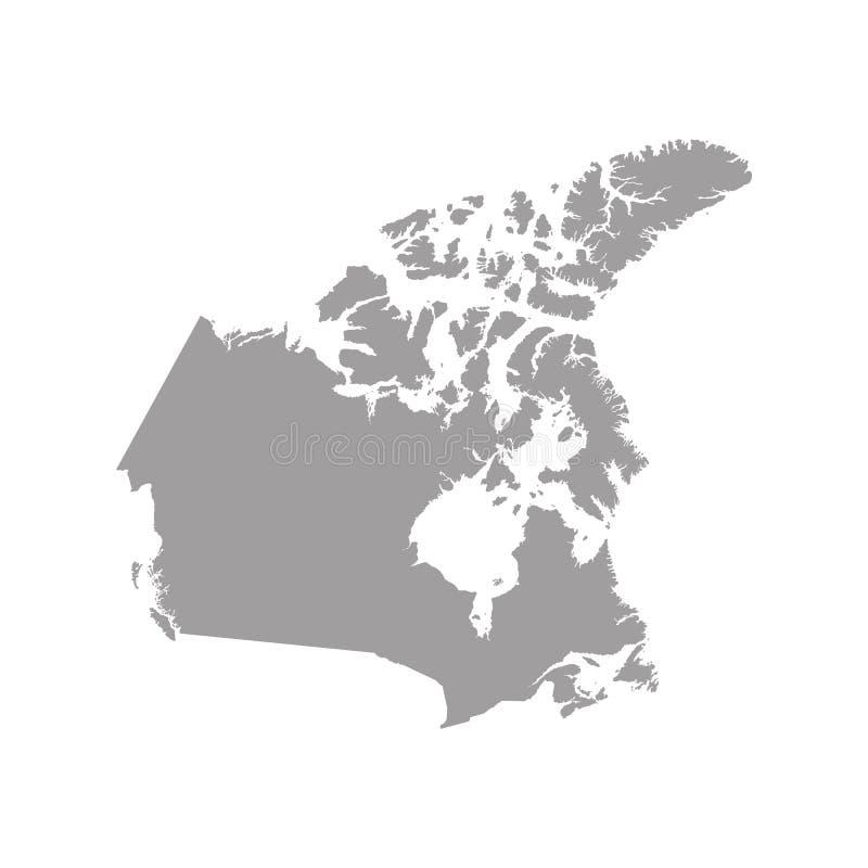 Карта Канады в сером цвете на белой предпосылке бесплатная иллюстрация