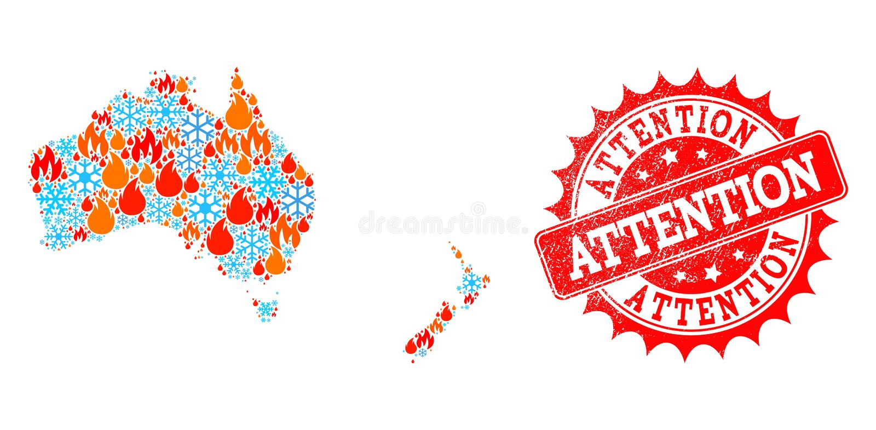 Карта коллажа Австралии и Новой Зеландии огня и снега и текстурированной вниманием печати бесплатная иллюстрация