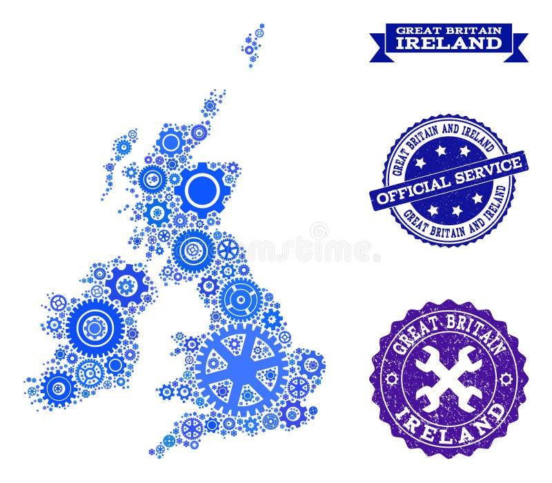 Карта коллажа Великобритании и Ирландии с шестернями и резиновыми уплотнениями для обслуживаний бесплатная иллюстрация