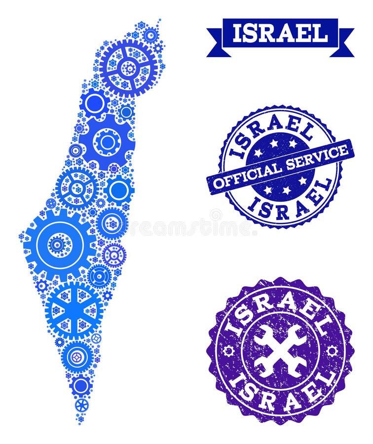 Карта коллажа Израиля с колесами шестерни и печатями Grunge для обслуживания иллюстрация вектора