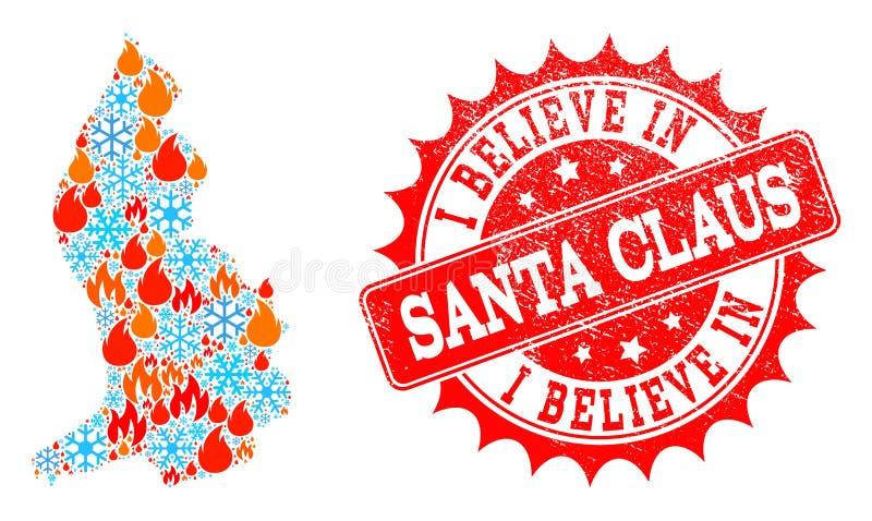Карта коллажа Лихтенштейна пламени и снега и я верим в печати Grunge Санта Клауса иллюстрация вектора