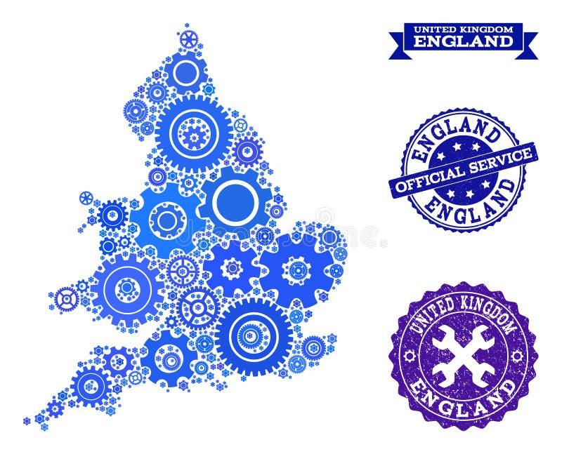 Карта мозаики Англии с колесами шестерни и уплотнениями Grunge для обслуживания иллюстрация штока