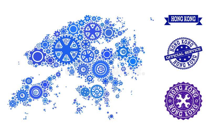 Карта мозаики Гонконга с шестернями и печатями Grunge для обслуживаний бесплатная иллюстрация