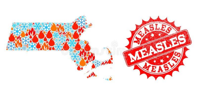 Карта мозаики государства Массачусетса пламени и снежинок и текстурированного корью уплотнения иллюстрация вектора