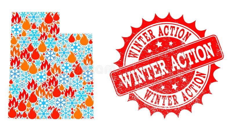 Карта мозаики государства Юты огня и снега и печати Grunge действия зимы иллюстрация вектора