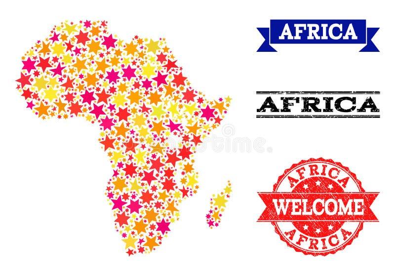 Карта мозаики звезды водяных знаков Африки и Grunge иллюстрация вектора