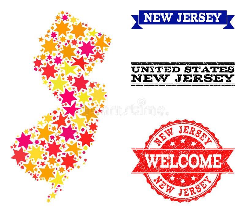 Карта мозаики звезды водяных знаков государства и Grunge Нью-Джерси бесплатная иллюстрация