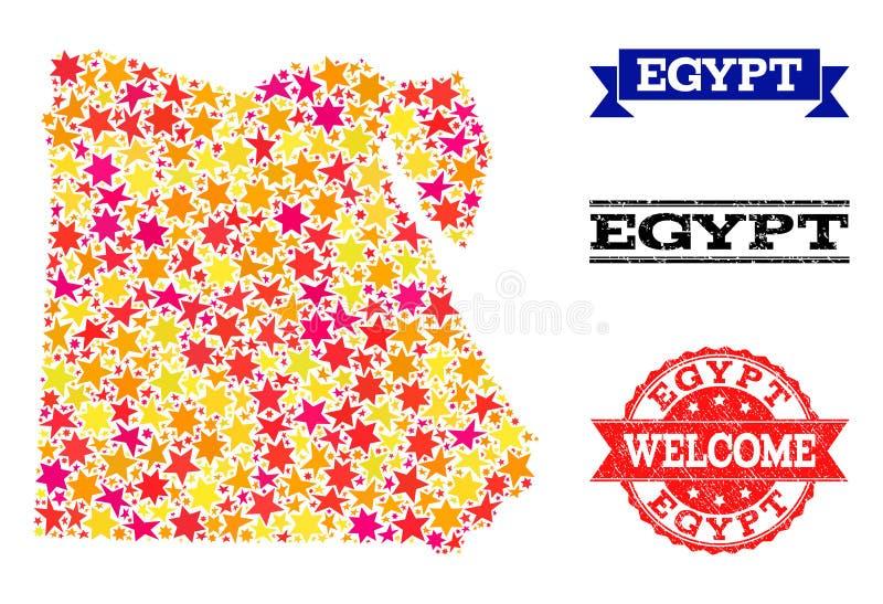 Карта мозаики звезды Египта и избитых фраз иллюстрация штока