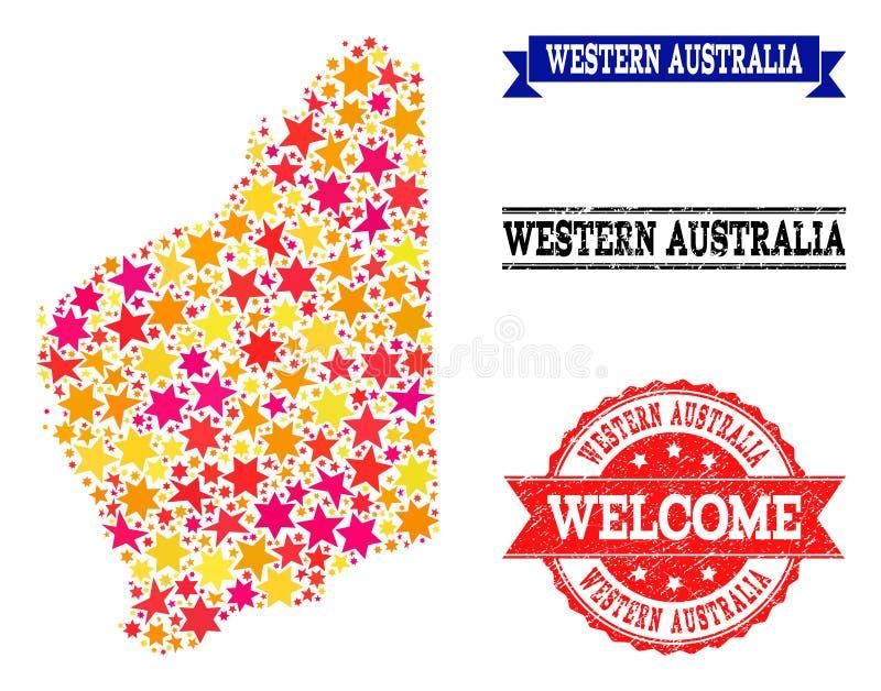 Карта мозаики звезды западной Австралии и резиновых водяных знаков иллюстрация штока