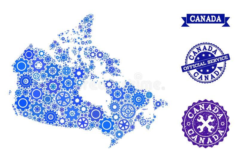 Карта мозаики Канады с уплотнениями Cogs и резиновых для обслуживаний бесплатная иллюстрация