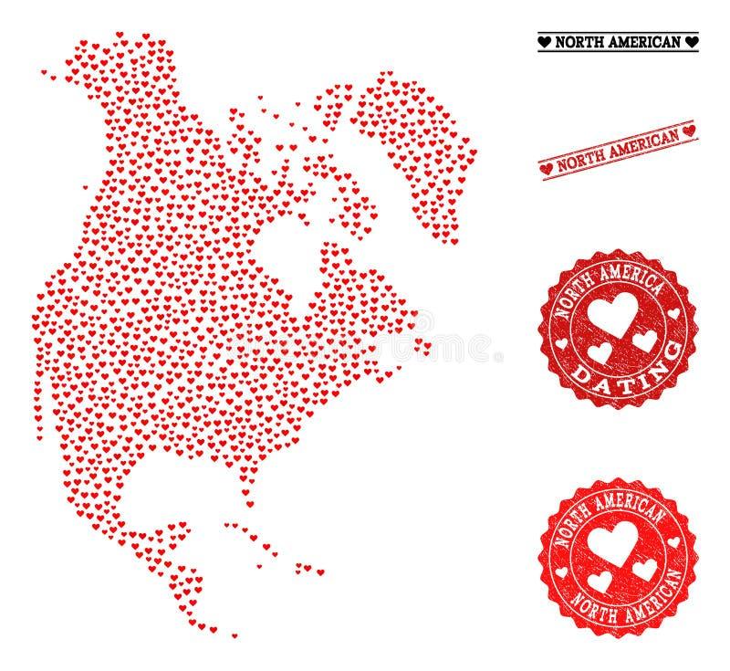 Карта мозаики любов Северной Америки и печатей Grunge для валентинок иллюстрация вектора