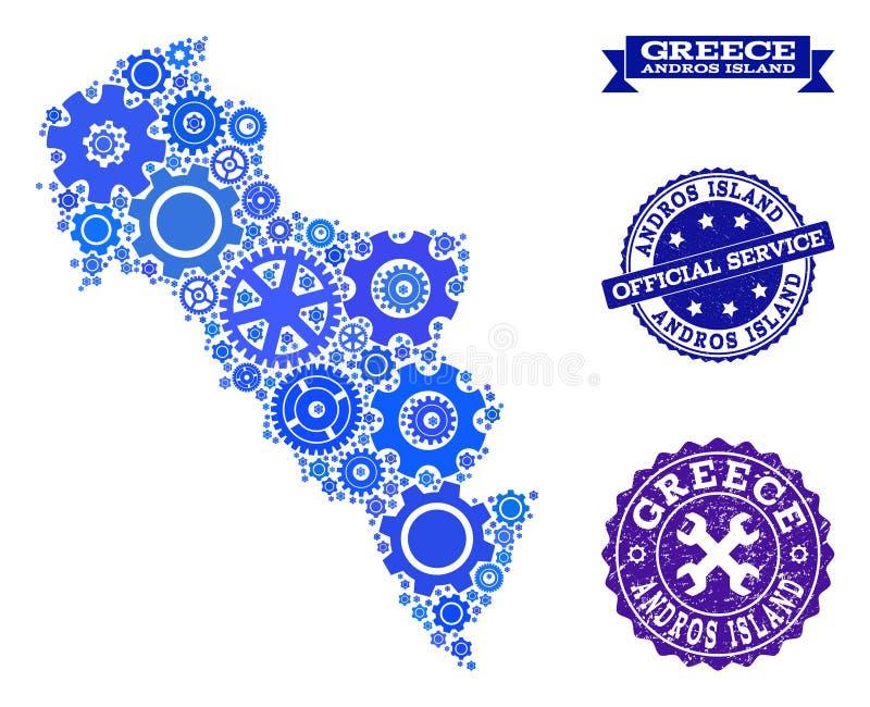 Карта мозаики острова Греции - Andros с колесами шестерни и резиновыми уплотнениями для обслуживаний бесплатная иллюстрация