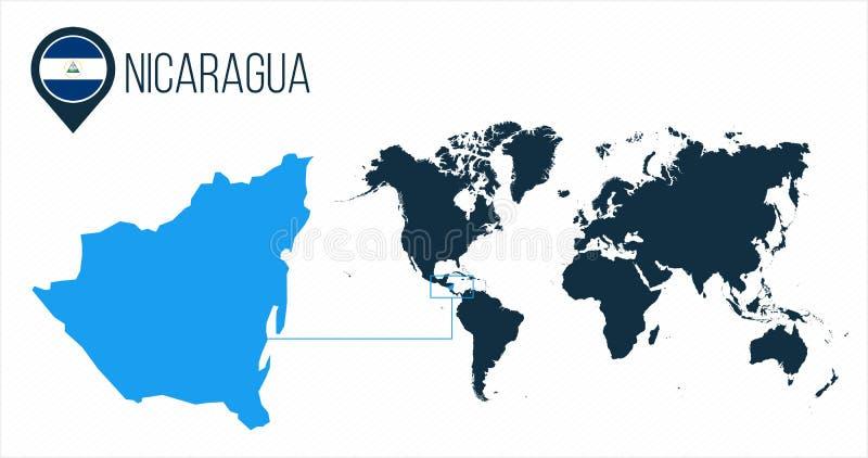 Карта Никарагуа расположенная на карте мира с флагом и указателем или штырем карты Карта Infographic Иллюстрация вектора изолиров бесплатная иллюстрация