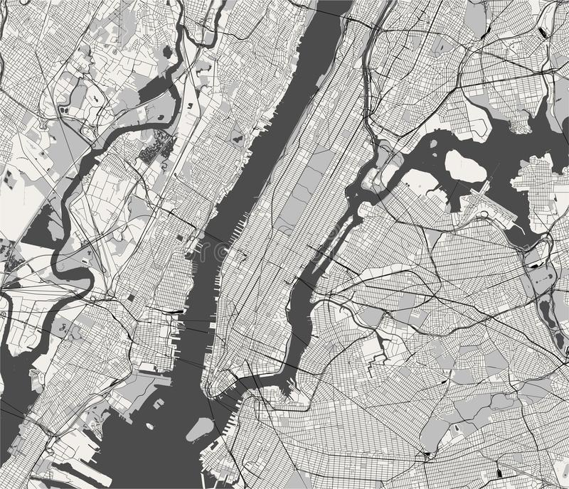 Карта Нью-Йорка, NY, США иллюстрация вектора