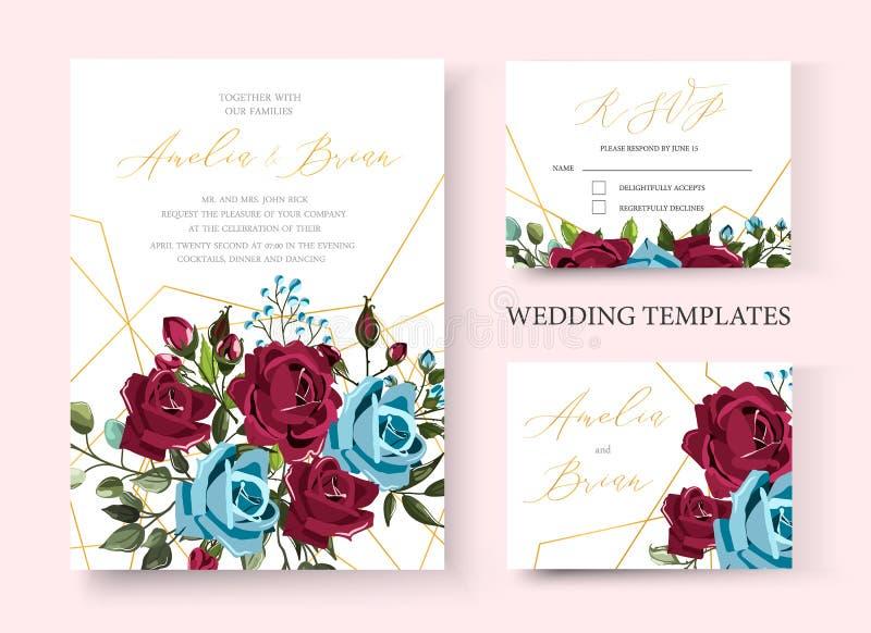 Карта приглашения свадьбы флористическая золотая за исключением дизайна даты с розами сини военно-морского флота bordo иллюстрация вектора